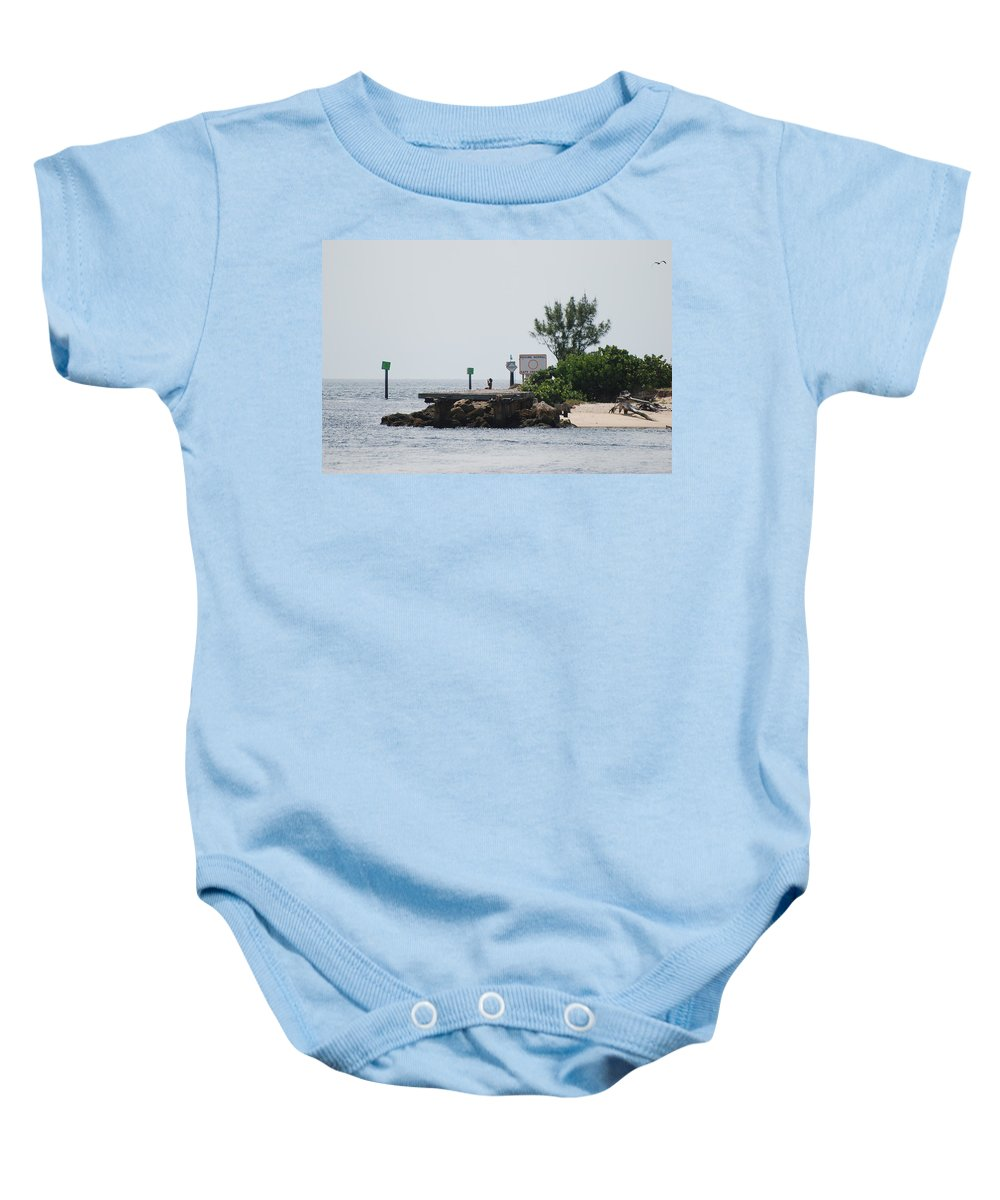 Sky Baby Onesie featuring the photograph Dock Girl by Rob Hans