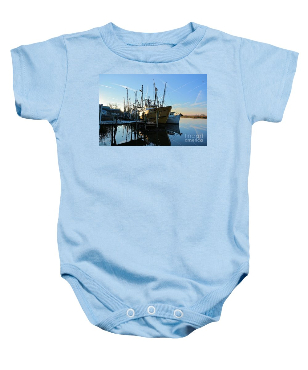 Docks Baby Onesie featuring the photograph Docks At Darien by Katherine W Morse