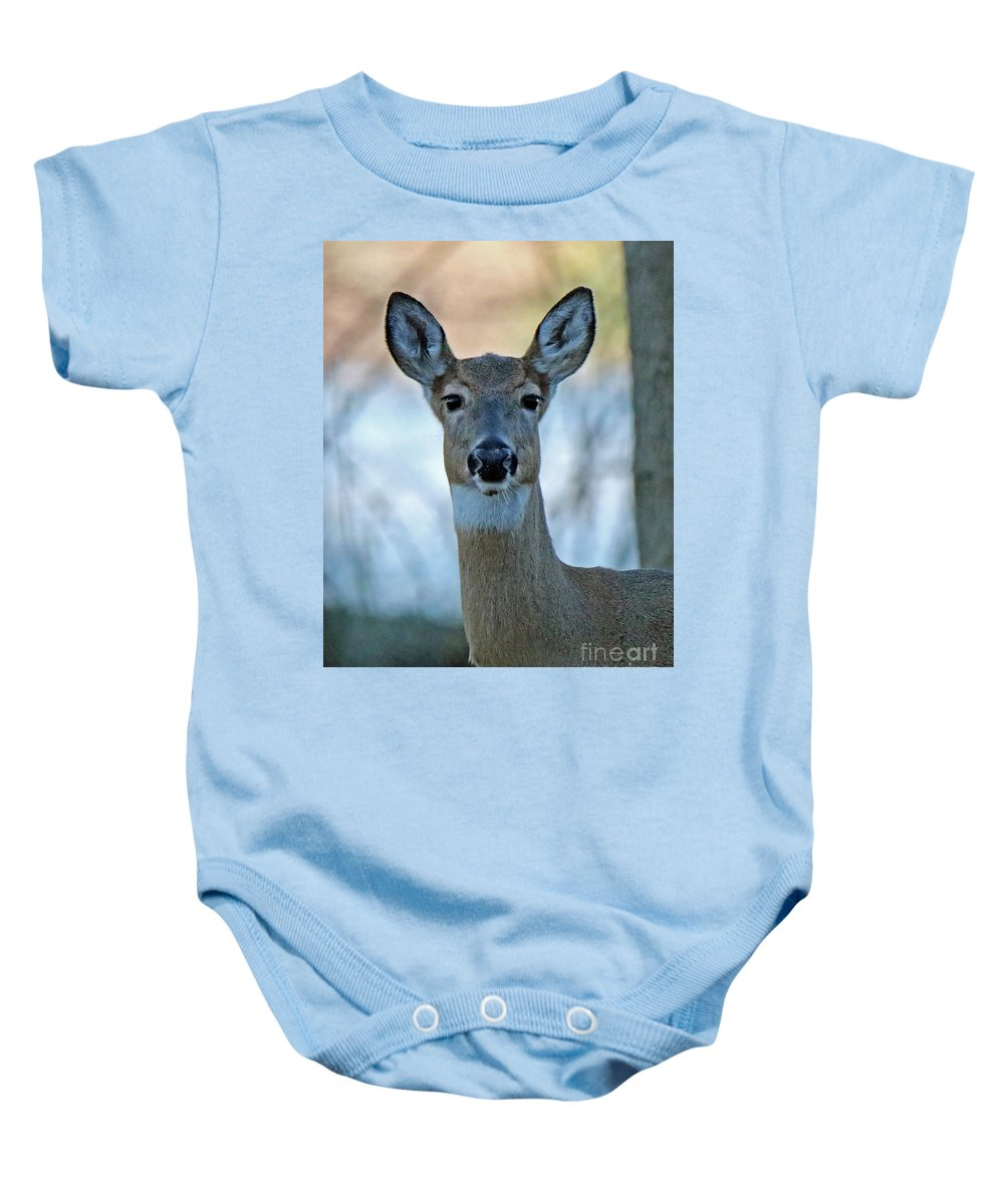 Deer Baby Onesie featuring the photograph Doe A Deer by Steve Gass