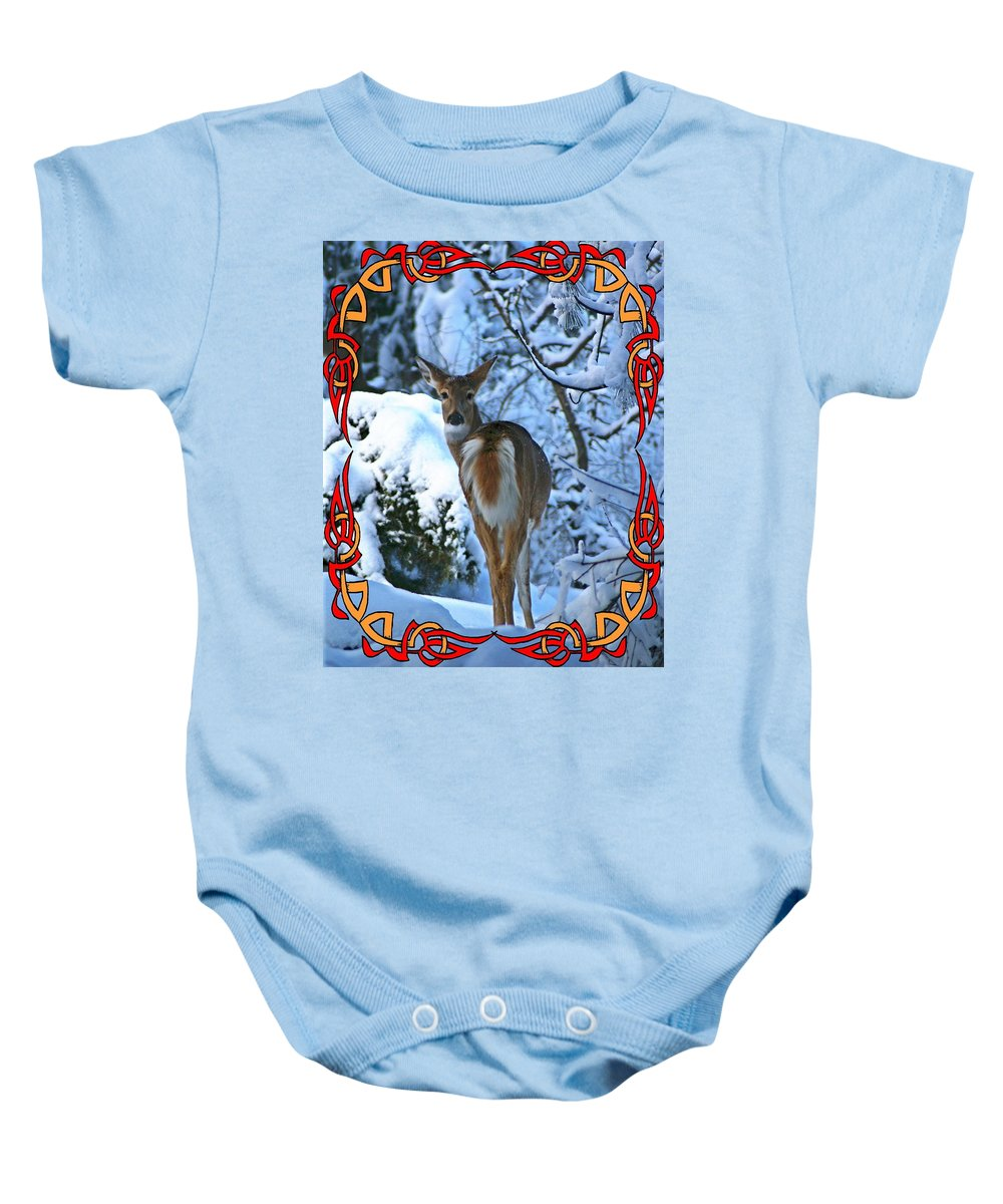 Nature Baby Onesie featuring the photograph Doe In The Snow by Ben Upham III
