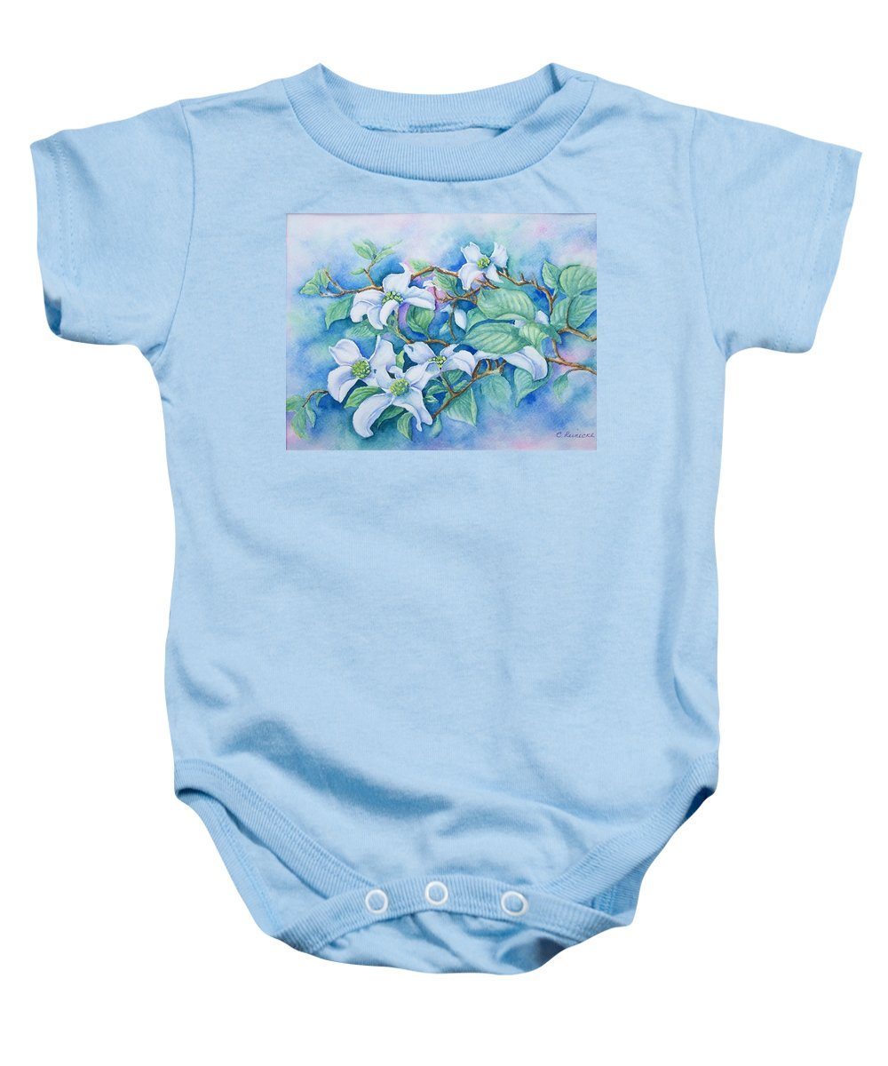 Floral Baby Onesie featuring the painting Dogwood by Conni Reinecke