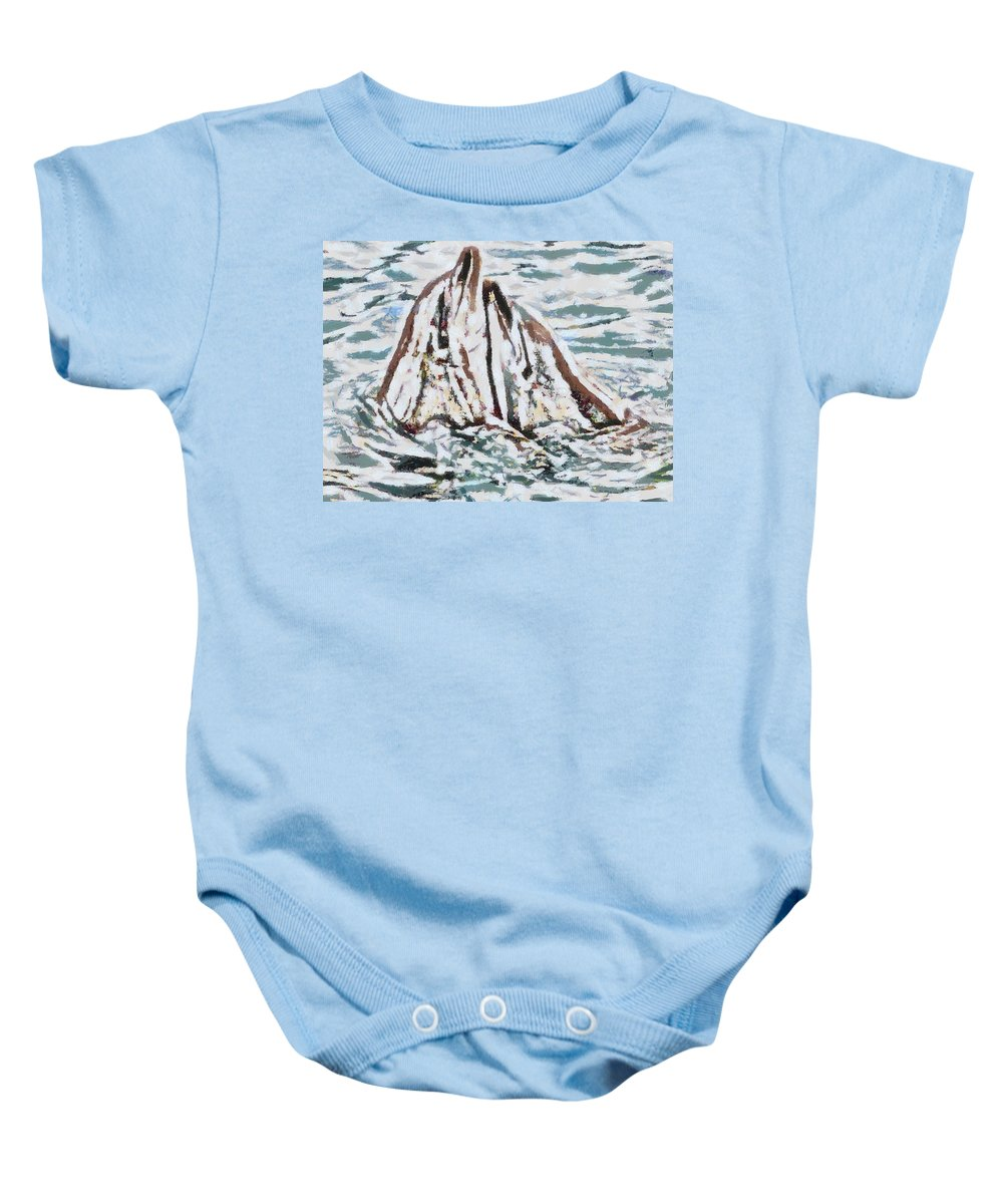 Dolphins Twitterpated Baby Onesie featuring the digital art Dolphins Twitterpated by Catherine Lott