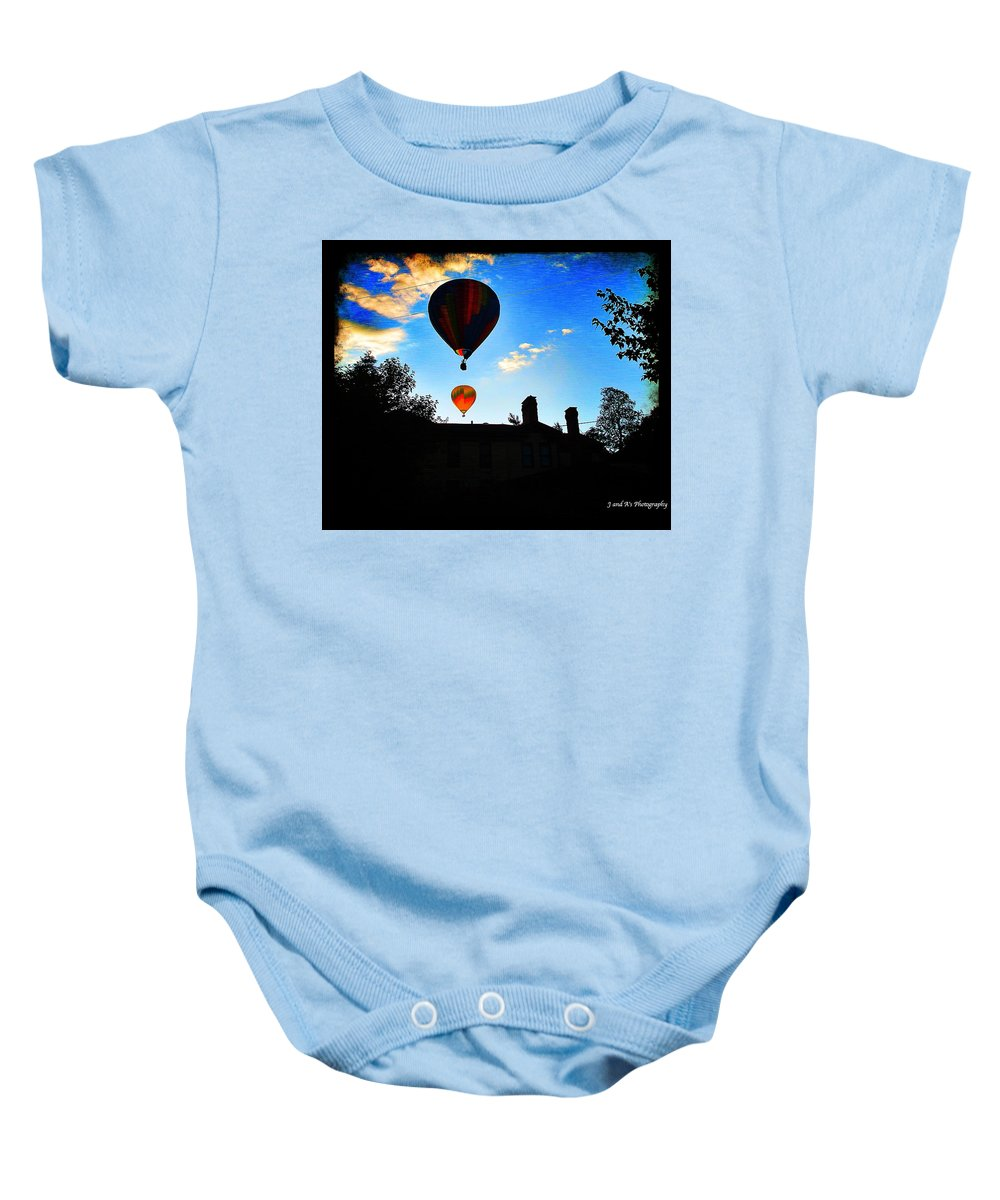 Hot Air Balloons Letchworth State Park New York Glen Iris Inn Baby Onesie featuring the photograph Double Balloons by Justyn Ripley