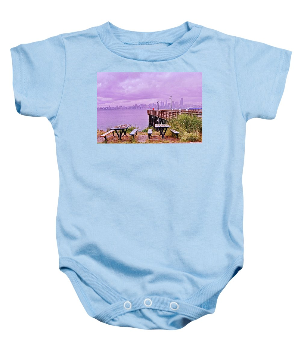 Alki Beach Baby Onesie featuring the photograph Downtown Seattle As Seen From Alki Beach by Allen Beatty