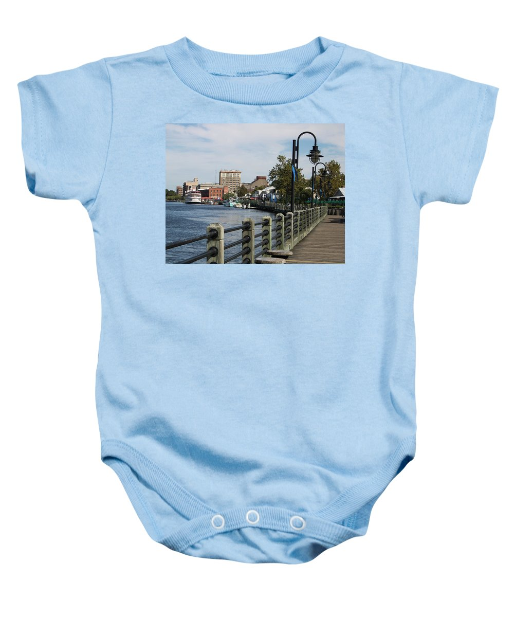 Downtown Baby Onesie featuring the photograph Downtown Wilmington by Paige Brown