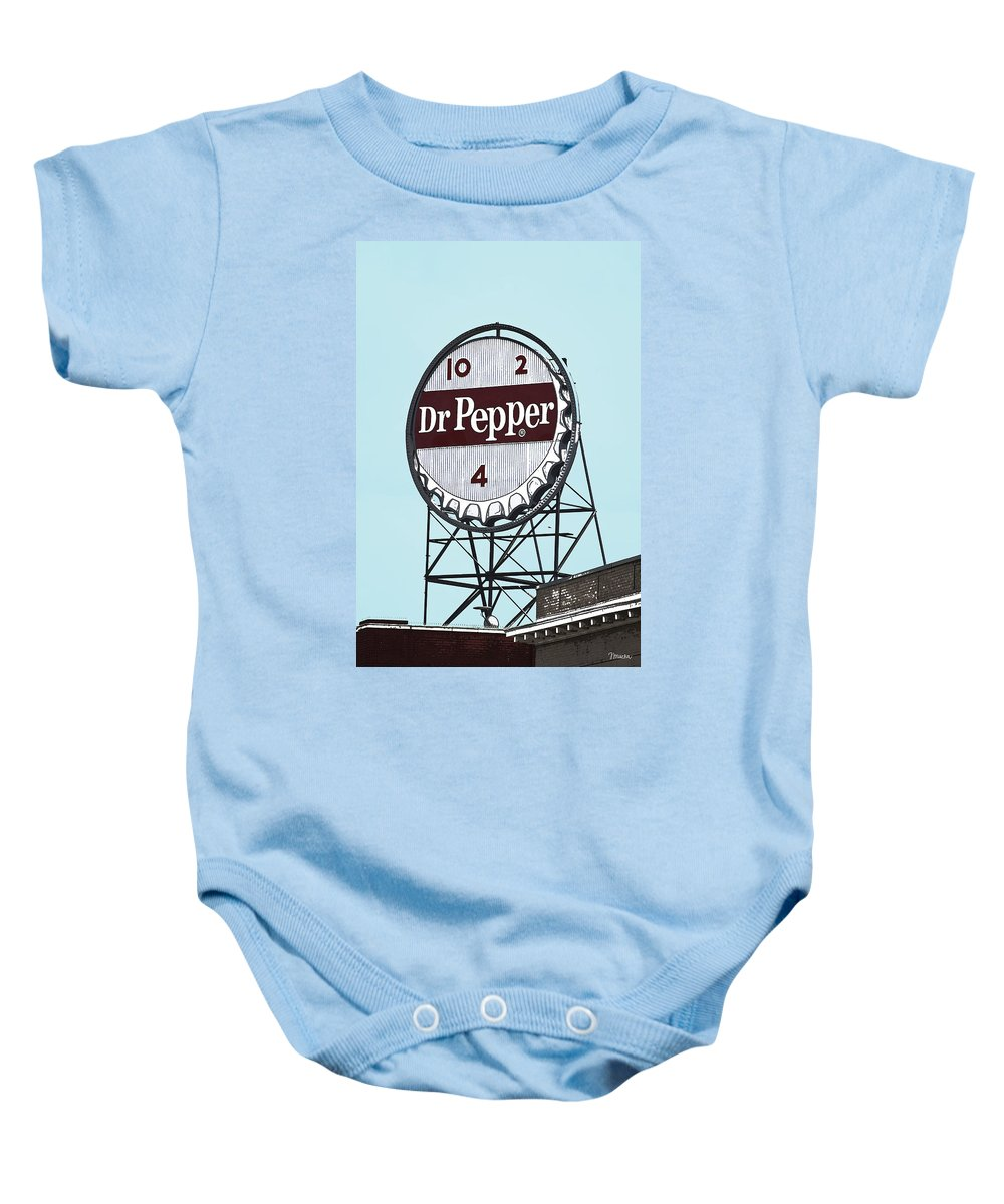 Dr Baby Onesie featuring the photograph Dr Pepper Landmark Sign Roanoke Virginia by Teresa Mucha