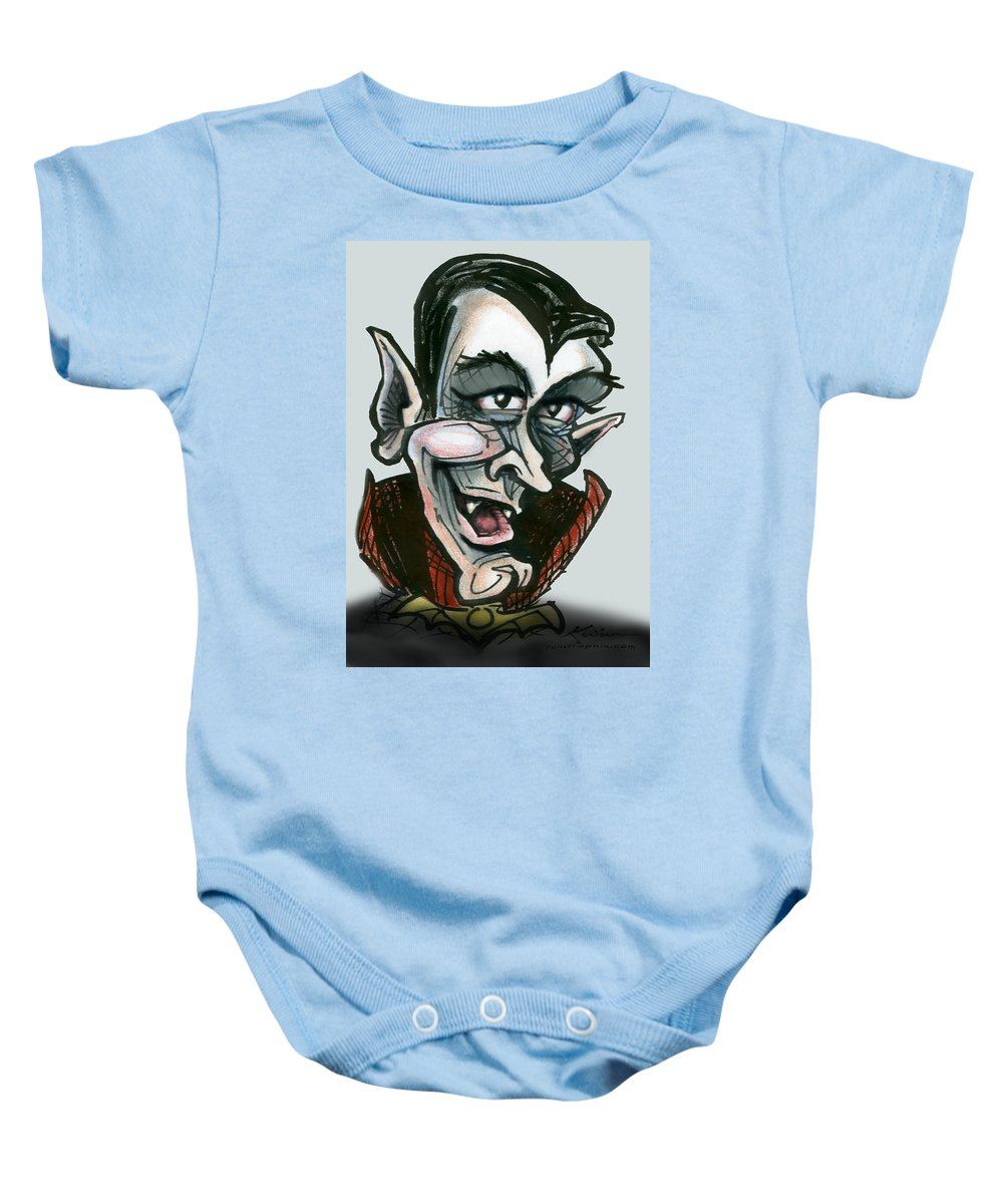Dracula Baby Onesie featuring the greeting card Dracula by Kevin Middleton