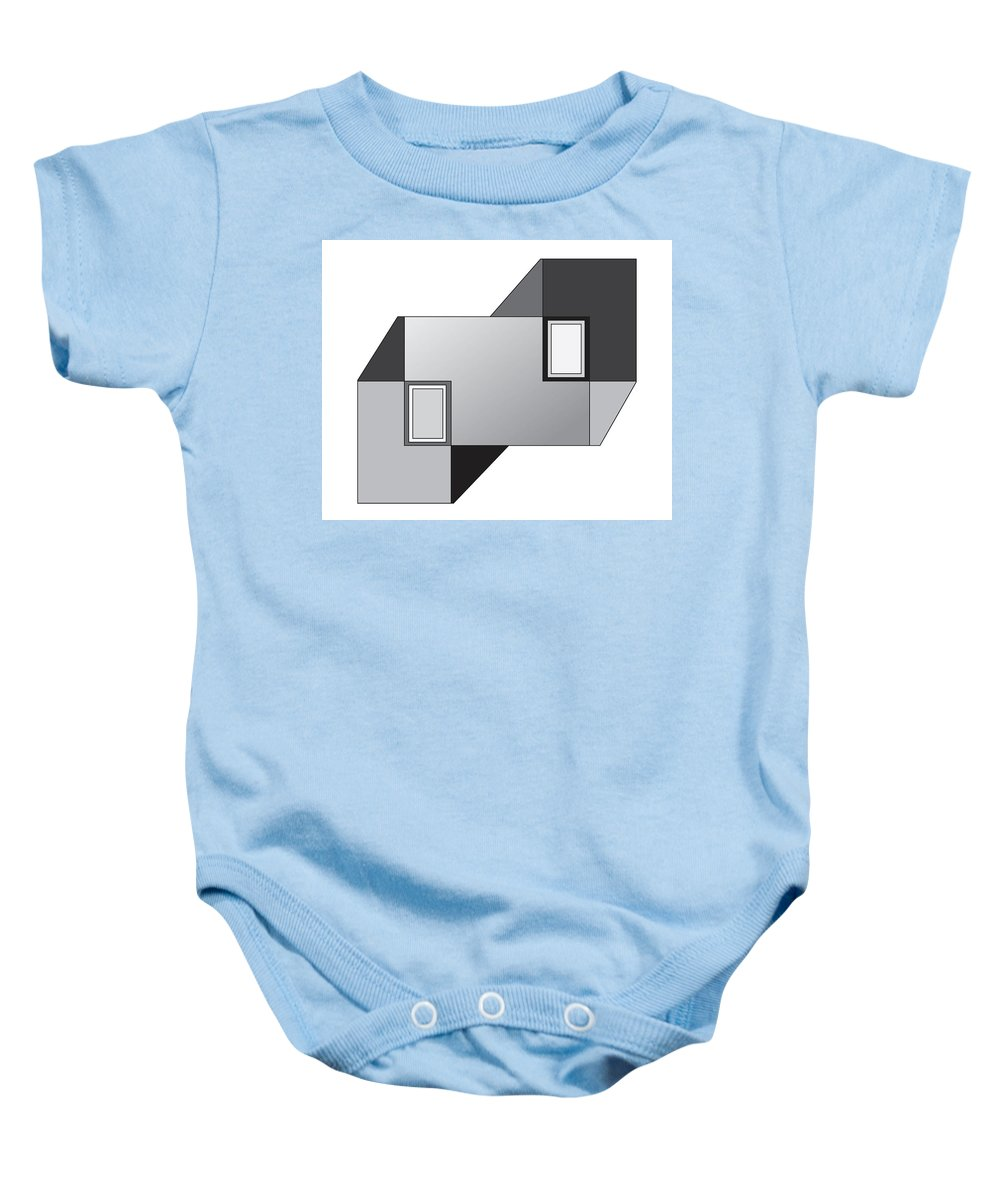 Illustration Baby Onesie featuring the drawing Drawn2shapes11bnw by Maggie Mijares