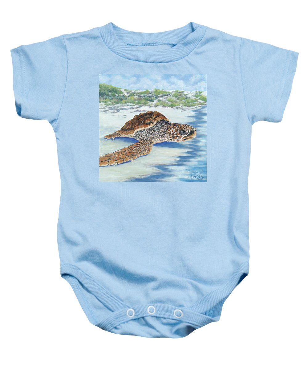 Sea Turtle Baby Onesie featuring the painting Dreaming Of Islands by Danielle Perry