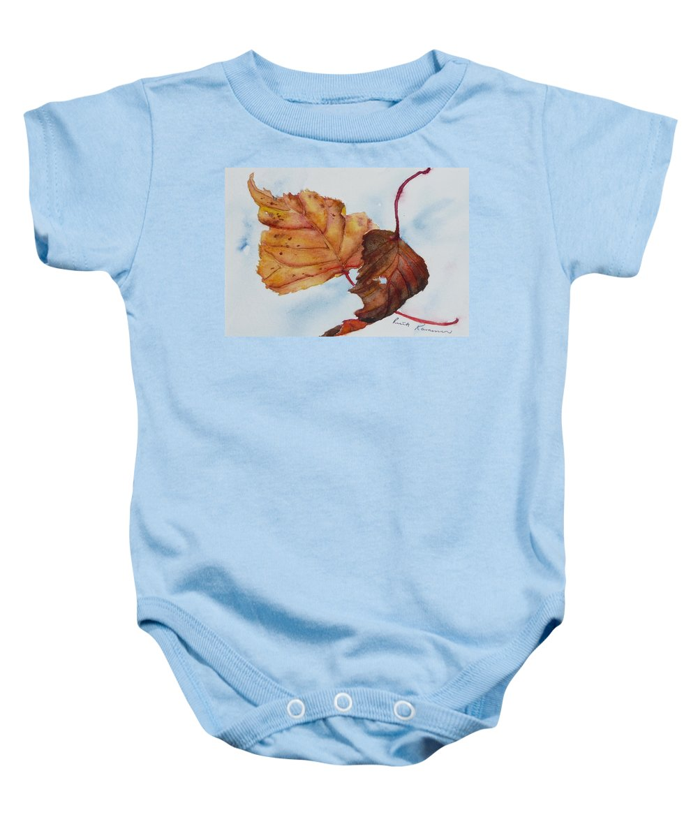 Fall Baby Onesie featuring the painting Drifting by Ruth Kamenev