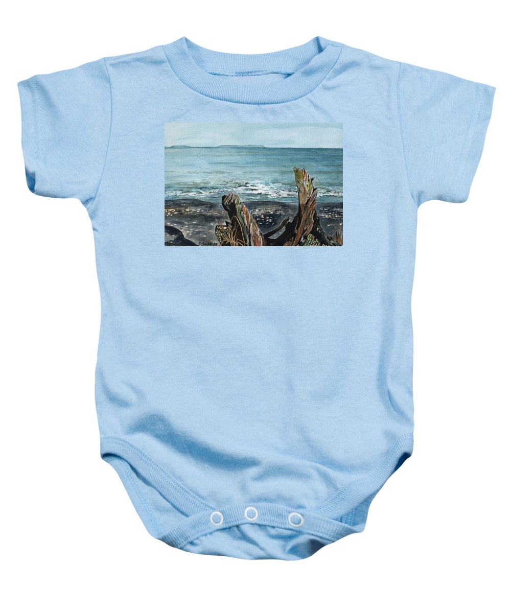 Watercolor Baby Onesie featuring the painting Driftwood by Brenda Owen