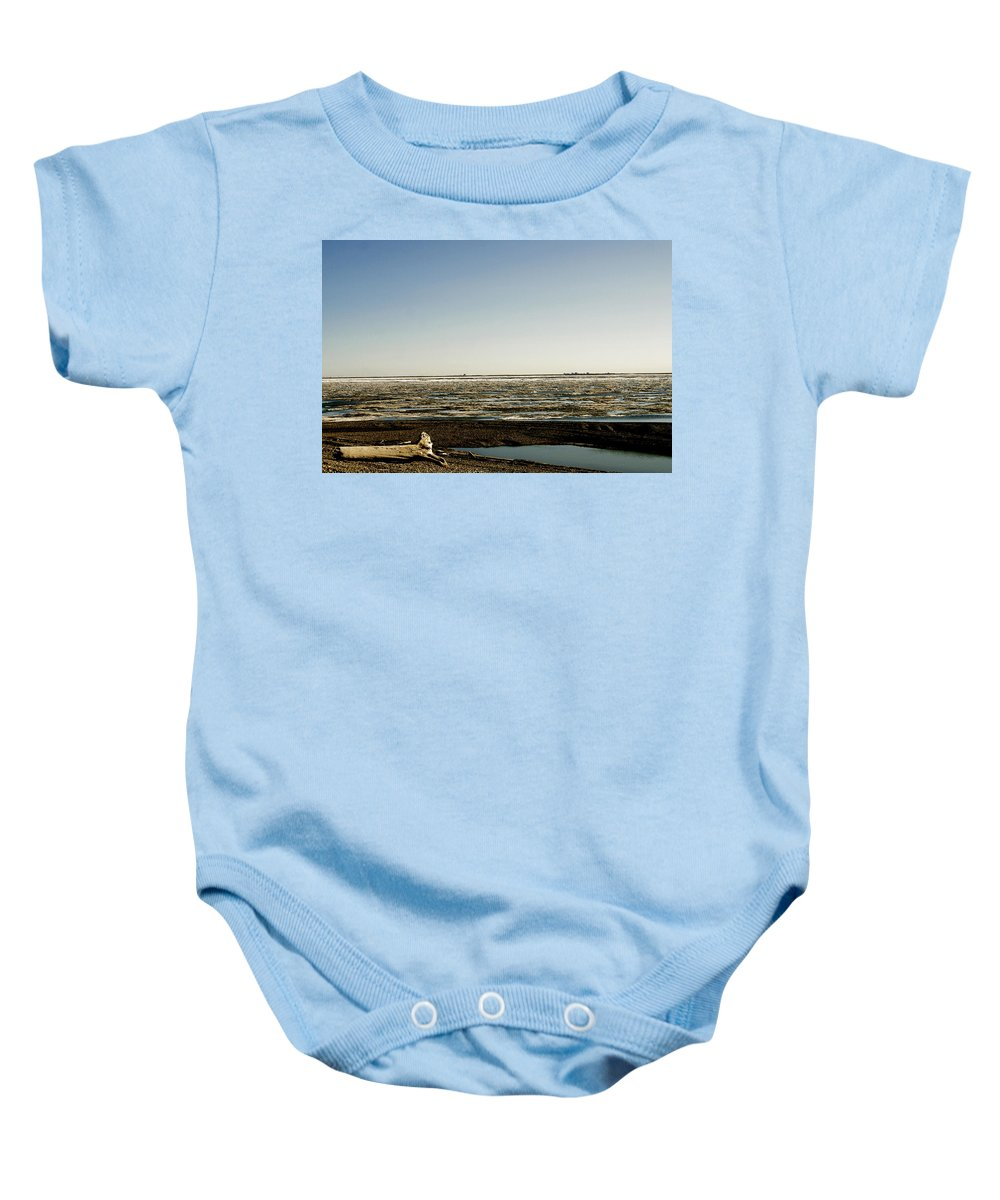 Driftwood Baby Onesie featuring the photograph Driftwood On Arctic Beach by Anthony Jones