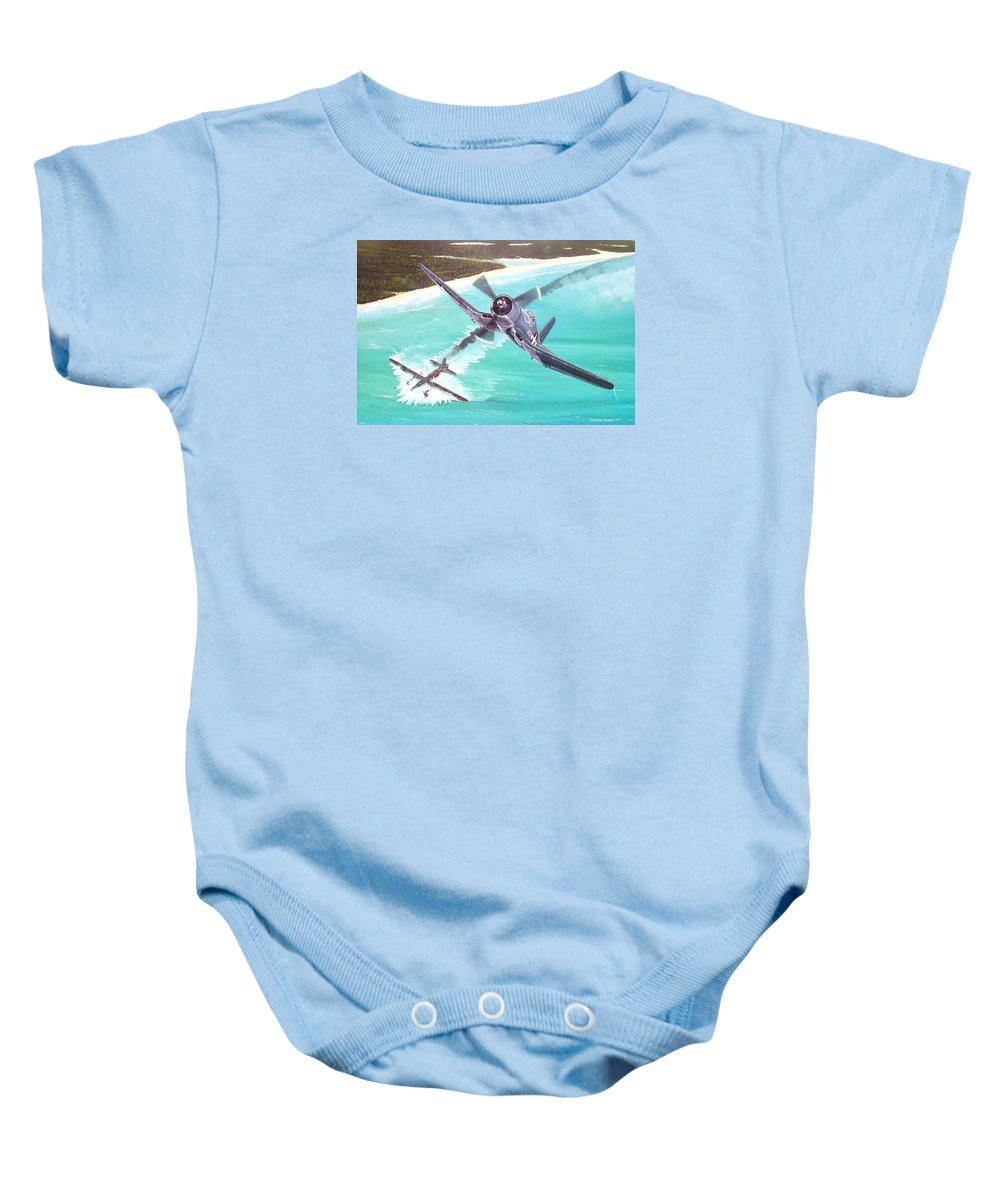 Military Baby Onesie featuring the painting Duel Over New Georgia by Marc Stewart