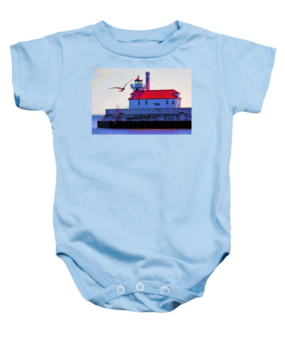 Lighthouse Baby Onesie featuring the photograph Duluth Lighthouse by Kristin Elmquist