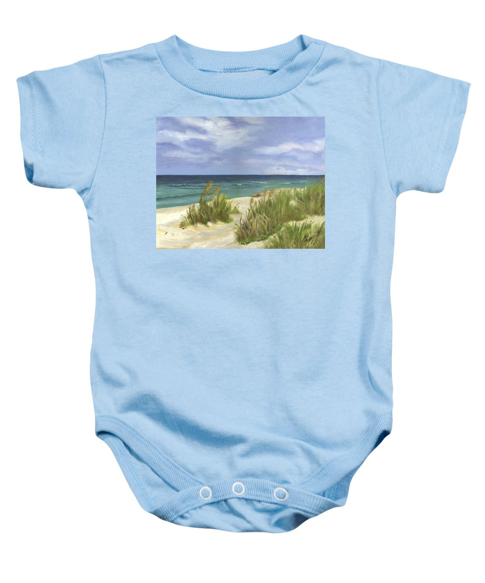 Seascape Baby Onesie featuring the painting Dune Grasses by Deborah Butts
