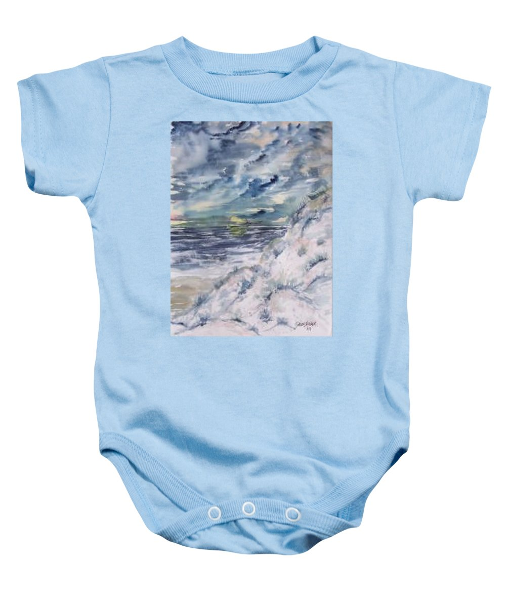 Seascape Baby Onesie featuring the painting Dunes 2 seascape painting poster print by Derek Mccrea