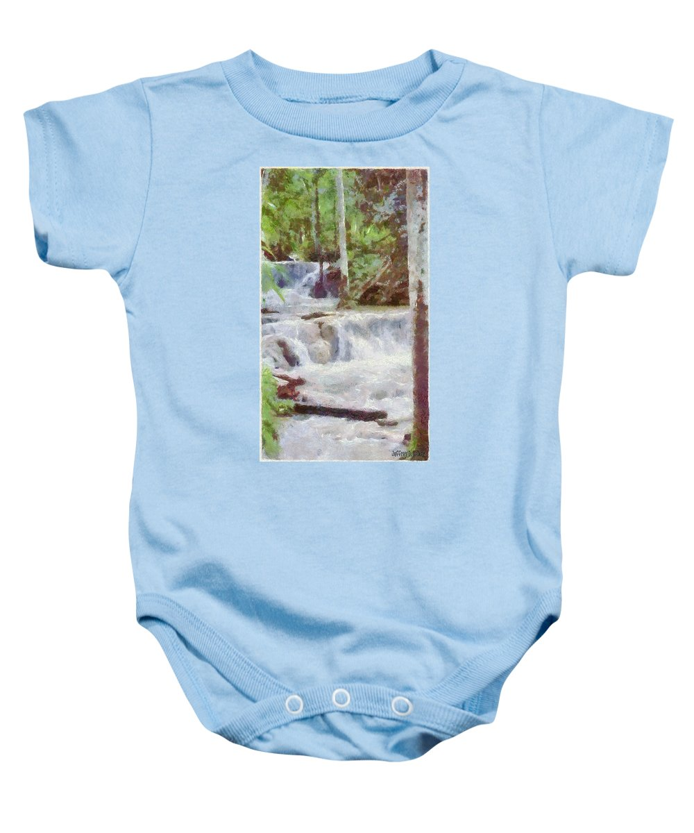 Dunn River Baby Onesie featuring the painting Dunn River Falls by Jeffrey Kolker