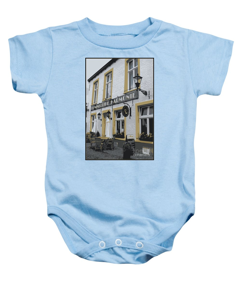 Gray And Yellow Baby Onesie featuring the photograph Dutch Cafe - Digital by Carol Groenen