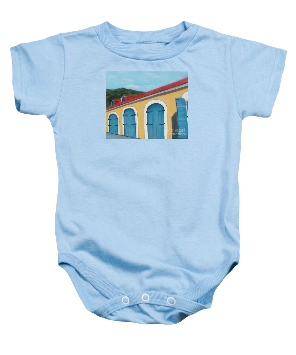 Doors Baby Onesie featuring the painting Dutch Doors Of St. Thomas by Laurie Morgan