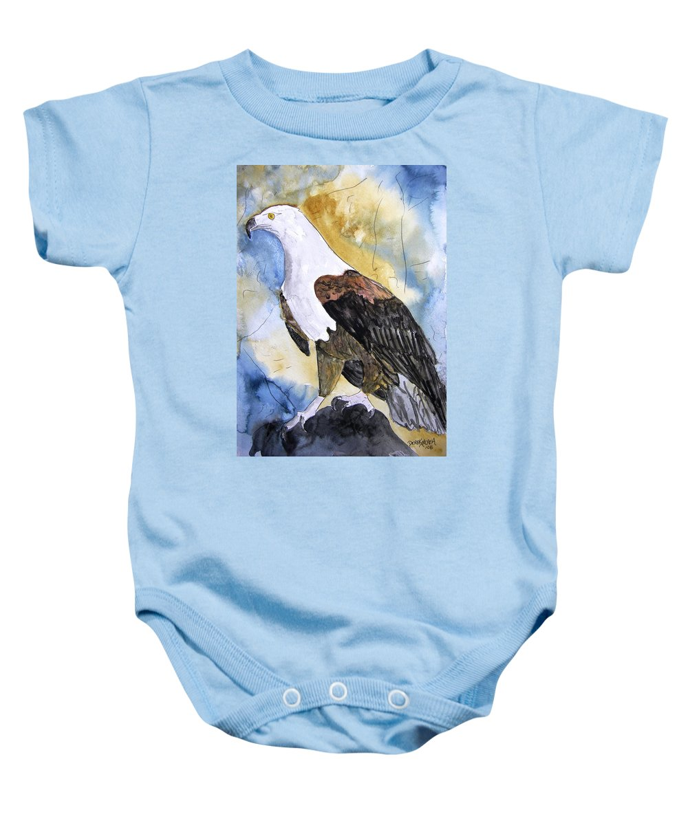 Realistic Baby Onesie featuring the painting Eagle by Derek Mccrea