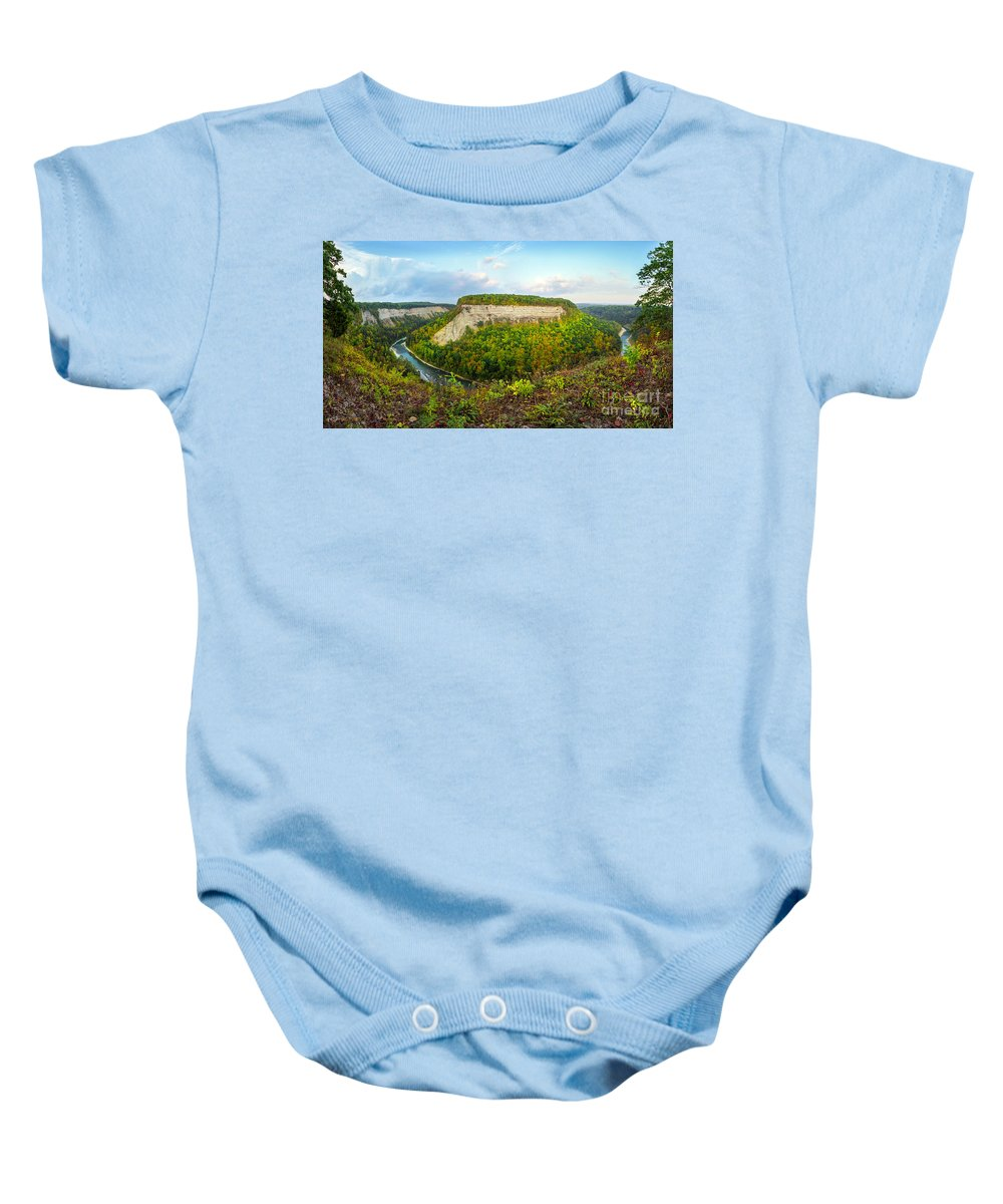 Letchworth Baby Onesie featuring the photograph Early Autumn At Genesee River Canyon New York by Karen Jorstad