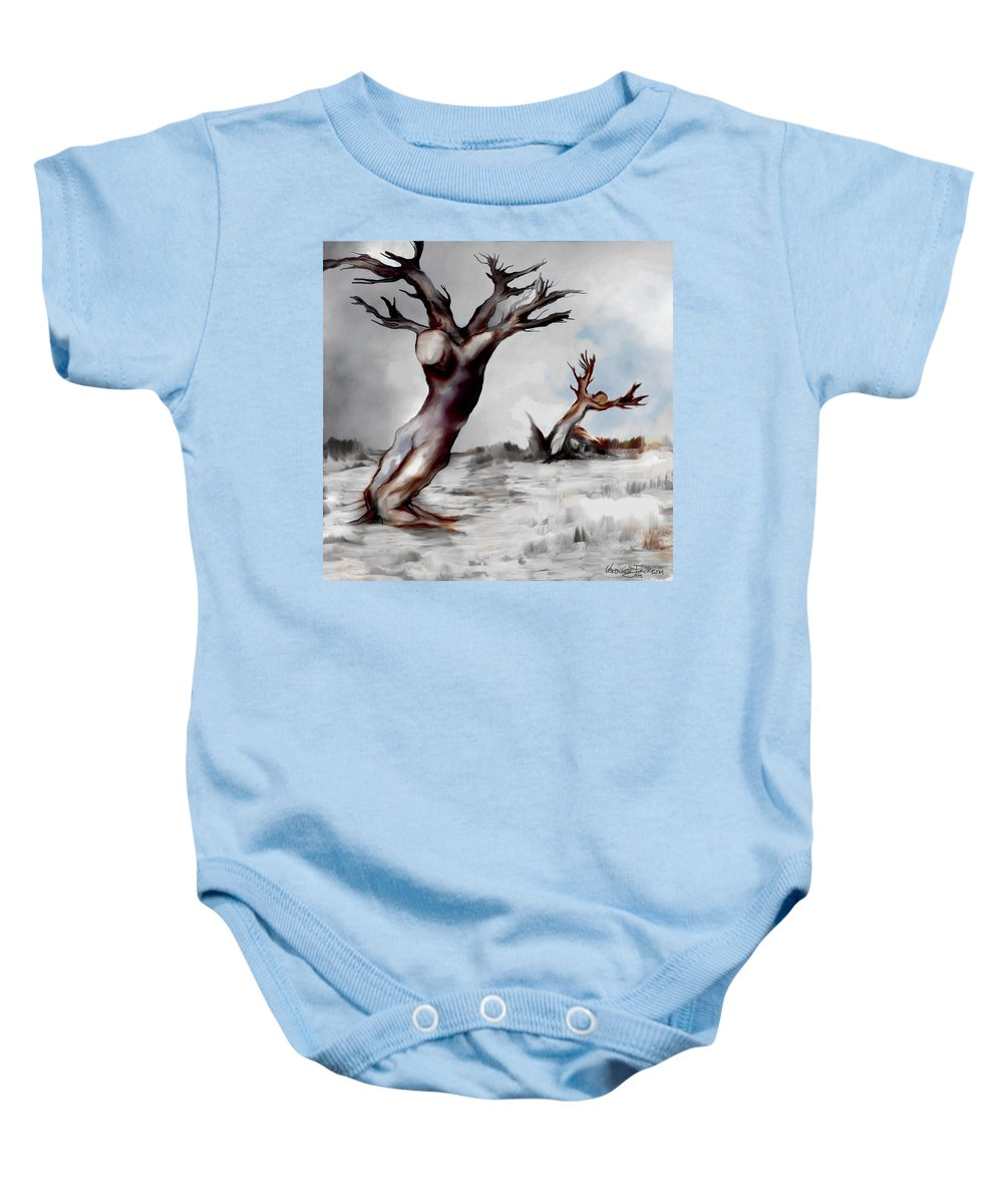 Trees Soul Nature Sky Storm Freedom Baby Onesie featuring the mixed media Earthbound by Veronica Jackson