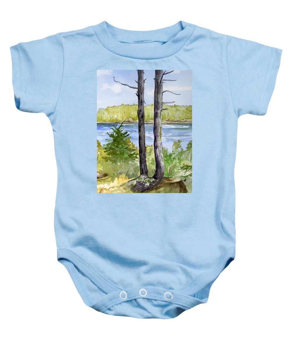 Landscape Seascape Trees Ocean Sea Maine Baby Onesie featuring the painting Eastport Maine Coastal Afternoon by Brenda Owen