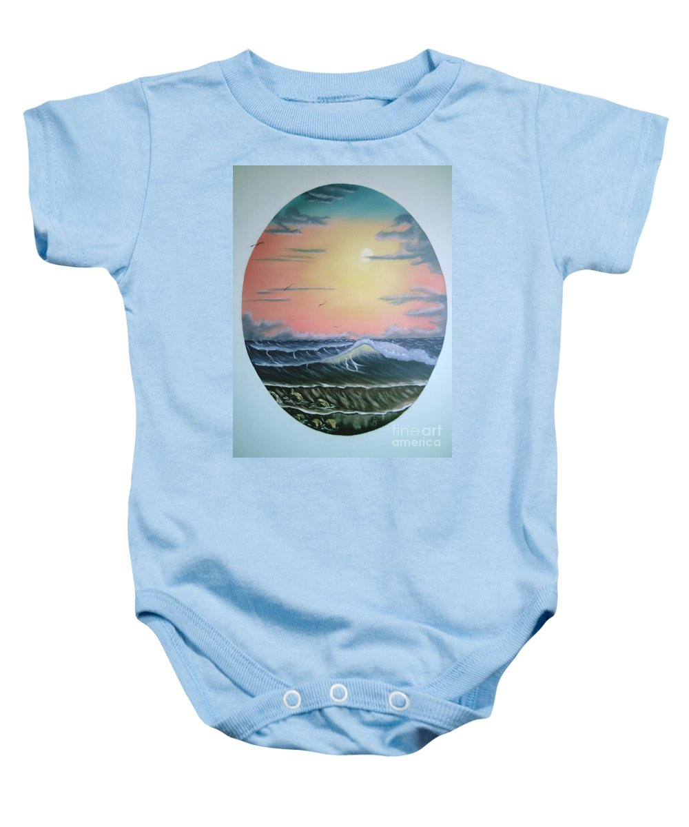 Pastel Sky Baby Onesie featuring the painting Ebb Tide by Jim Saltis