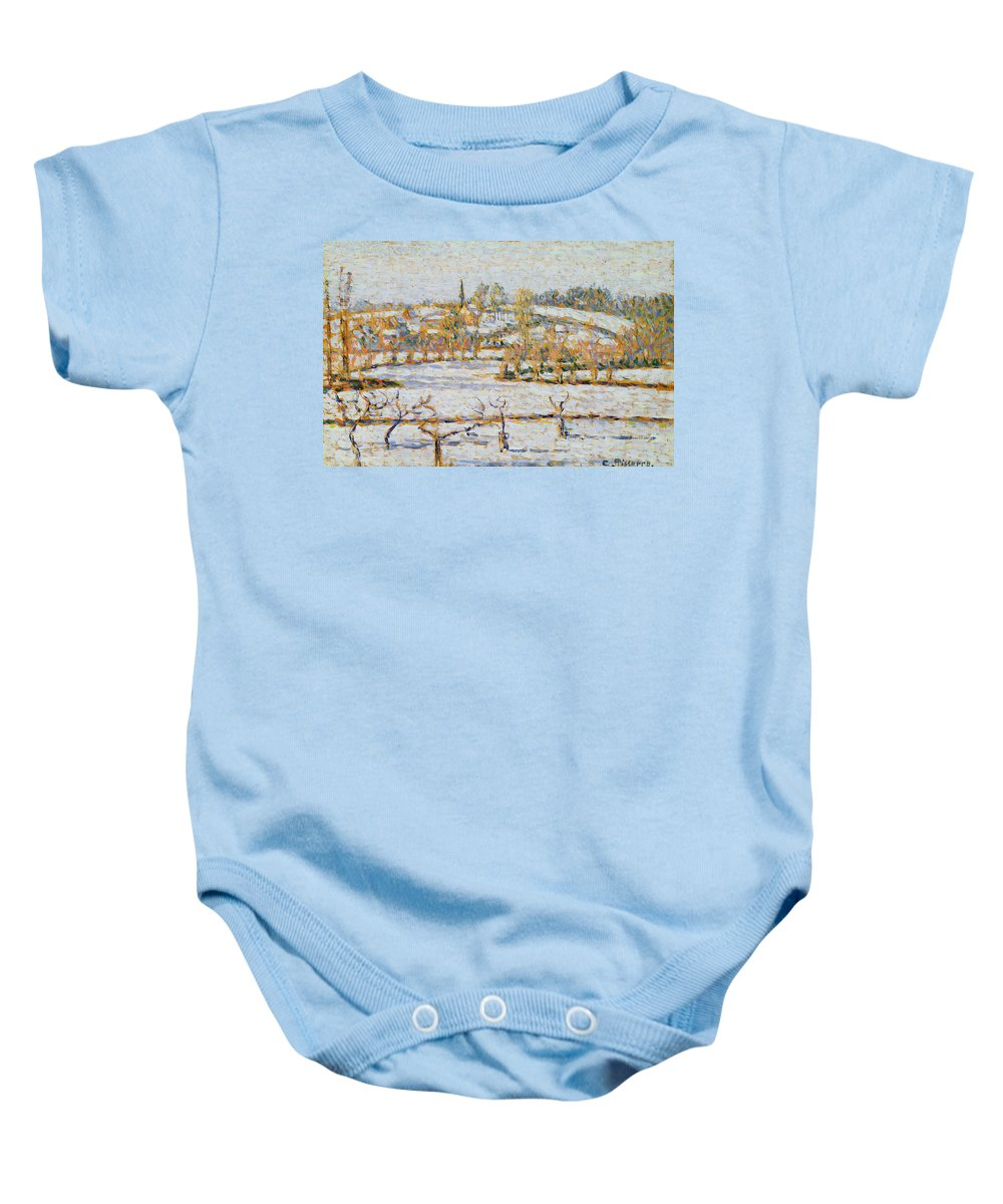 Effect Baby Onesie featuring the painting Effect Of Snow At Eragny by Camille Pissarro