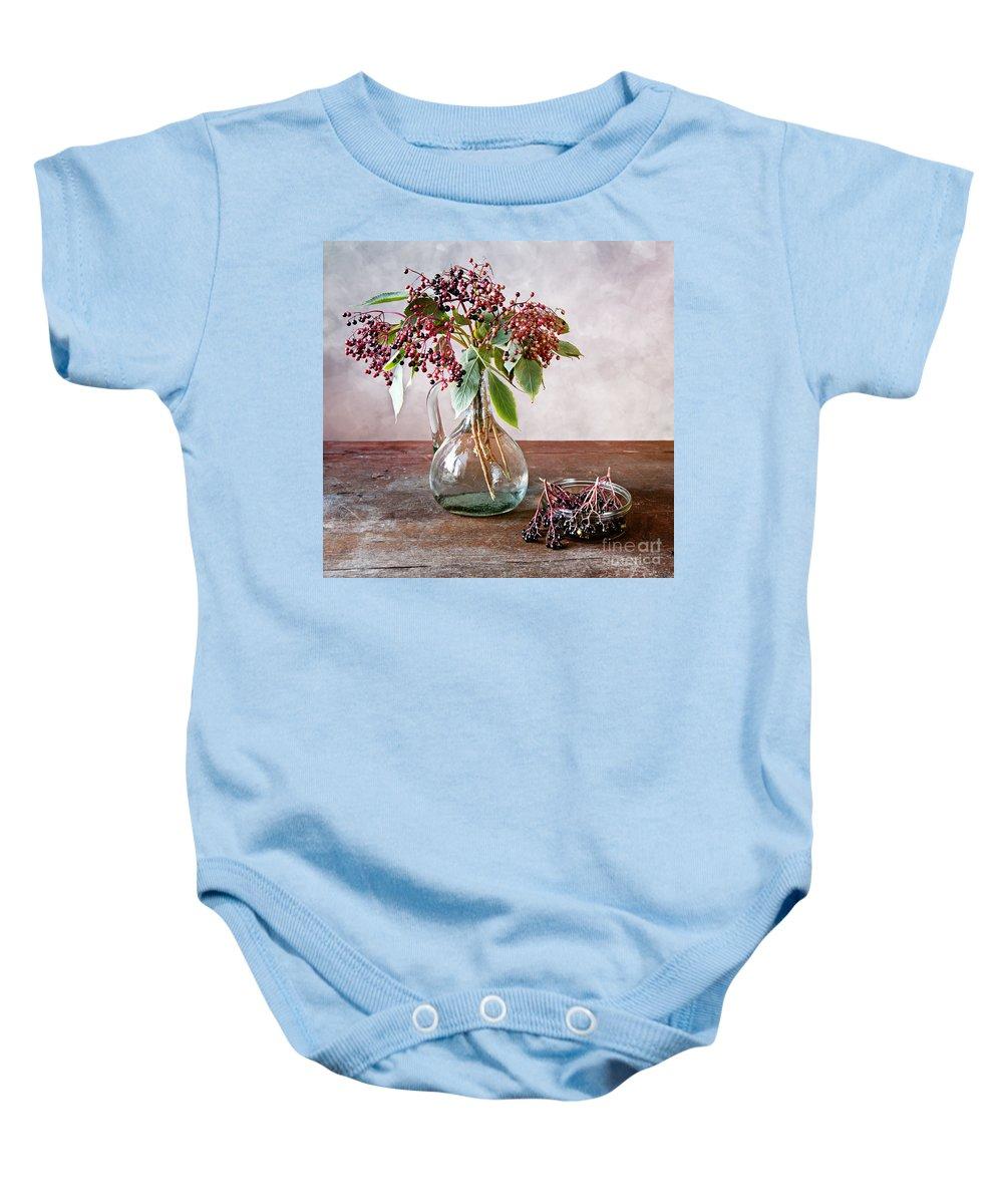 Autumn Baby Onesie featuring the photograph Elderberries 07 by Nailia Schwarz