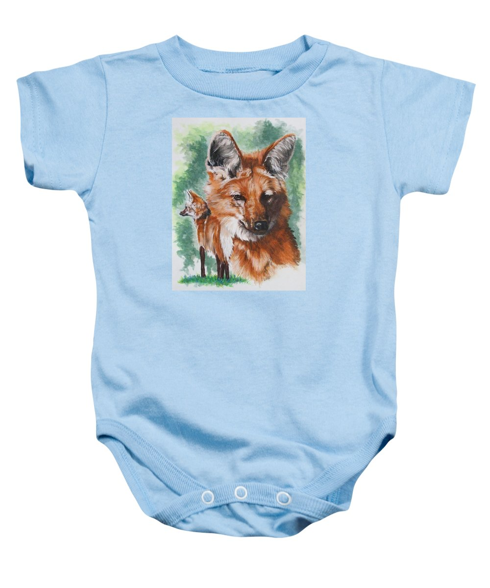 Canine Baby Onesie featuring the mixed media Elegant by Barbara Keith