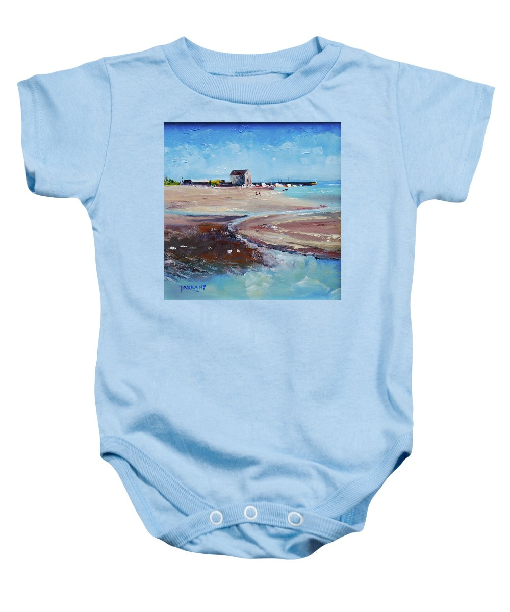 Elie Beach Baby Onesie featuring the painting Elie Beach 2018 Oil by Peter Tarrant