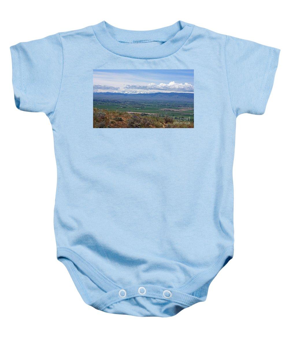 Ellensburg Baby Onesie featuring the photograph Ellensburg Valley With Sagebrush And Lupine by Carol Groenen