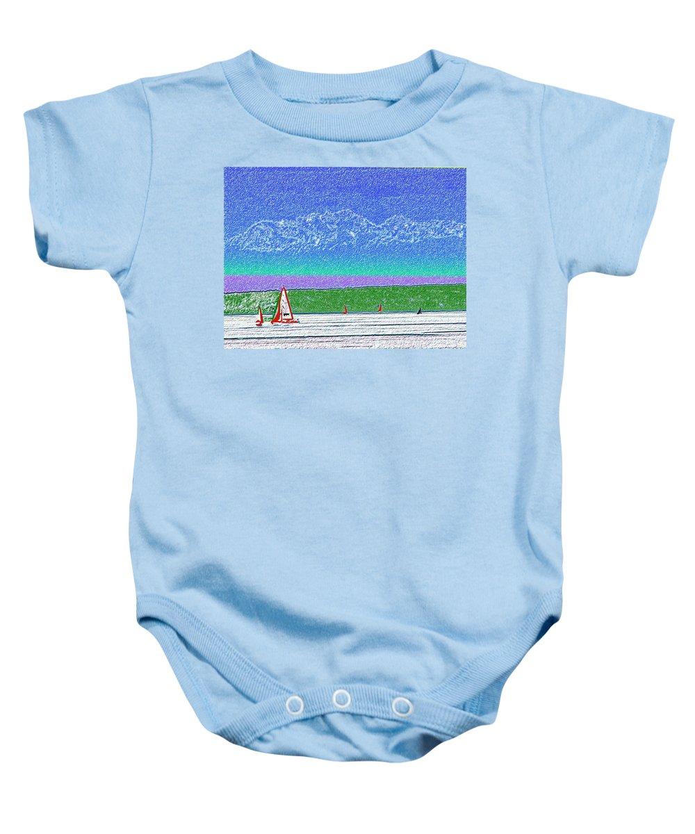 Seattle Baby Onesie featuring the digital art Elliott Bay Sail by Tim Allen