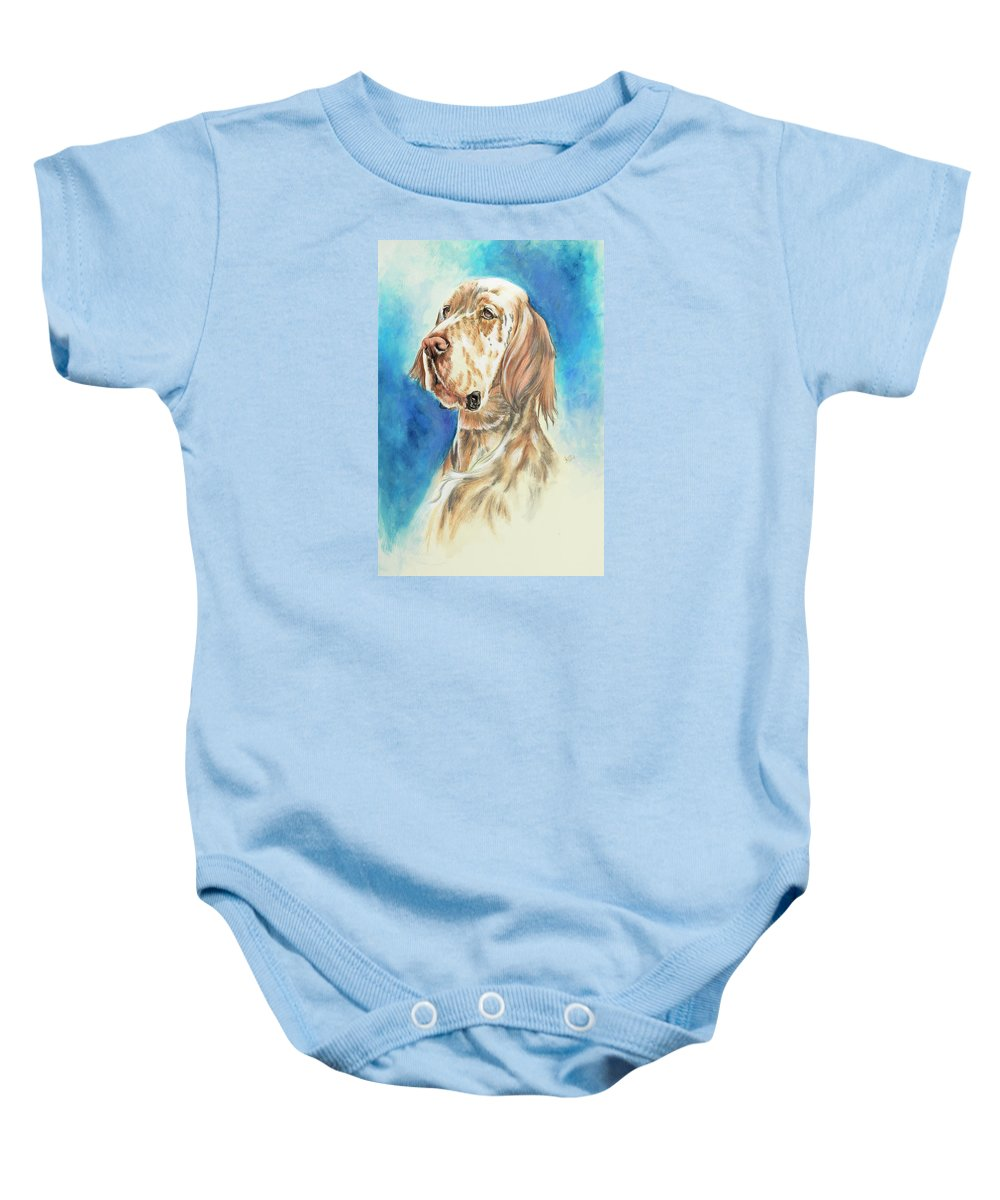 Sporting Group Baby Onesie featuring the painting English Setter by Barbara Keith