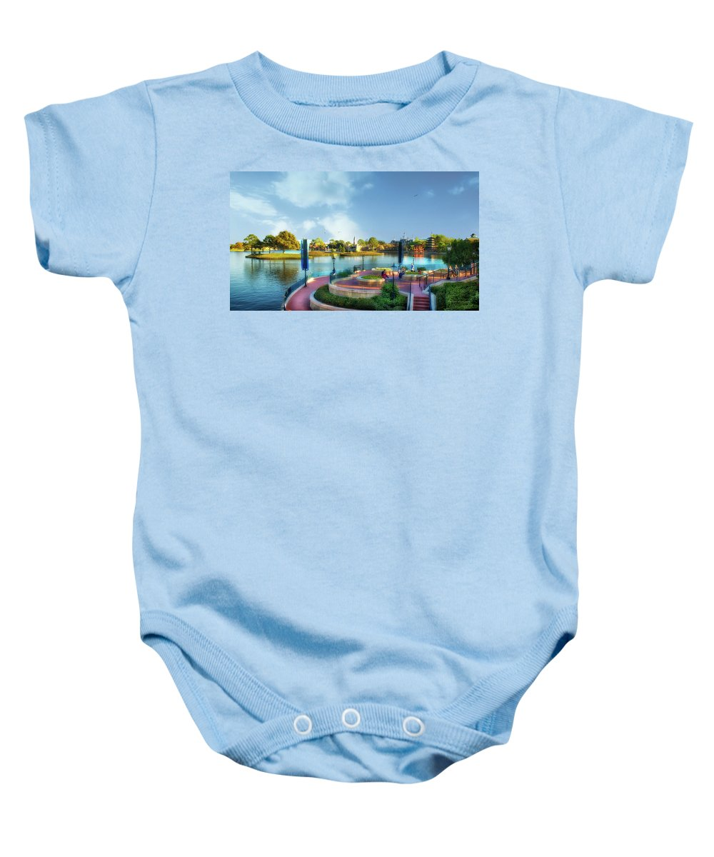 Epcot Baby Onesie featuring the photograph Enjoying The Shade World Showcase Lagoon Walt Disney World by Thomas Woolworth
