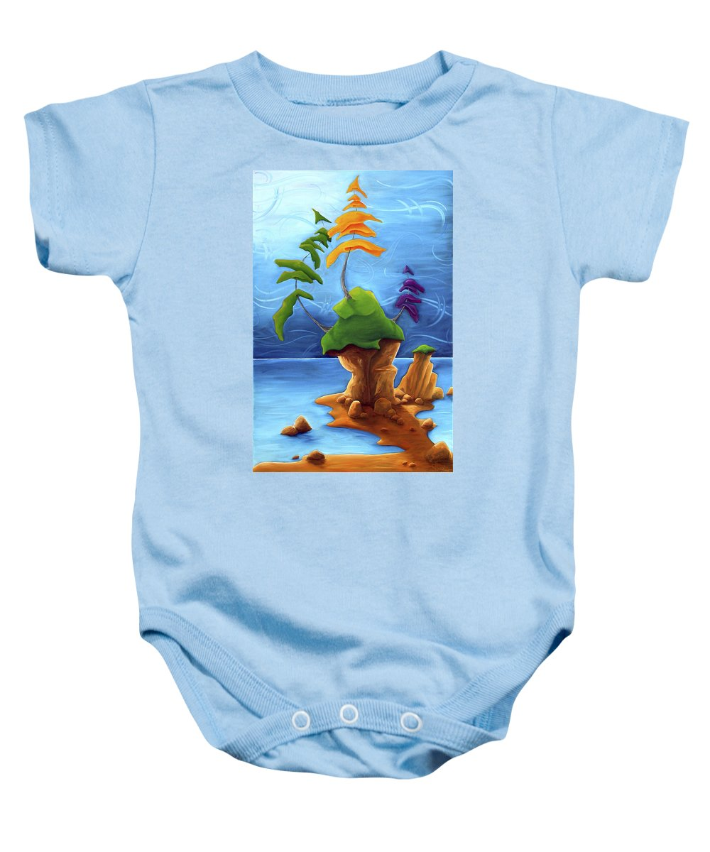 Landscape Baby Onesie featuring the painting Enraptured by Richard Hoedl