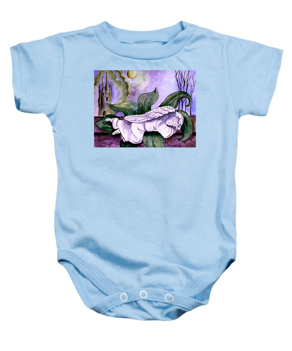 Watercolor Fantasy Angel Sleeping Castle Trees Sun Moon Scenic Scenery Baby Onesie featuring the painting Envisage by Brenda Owen