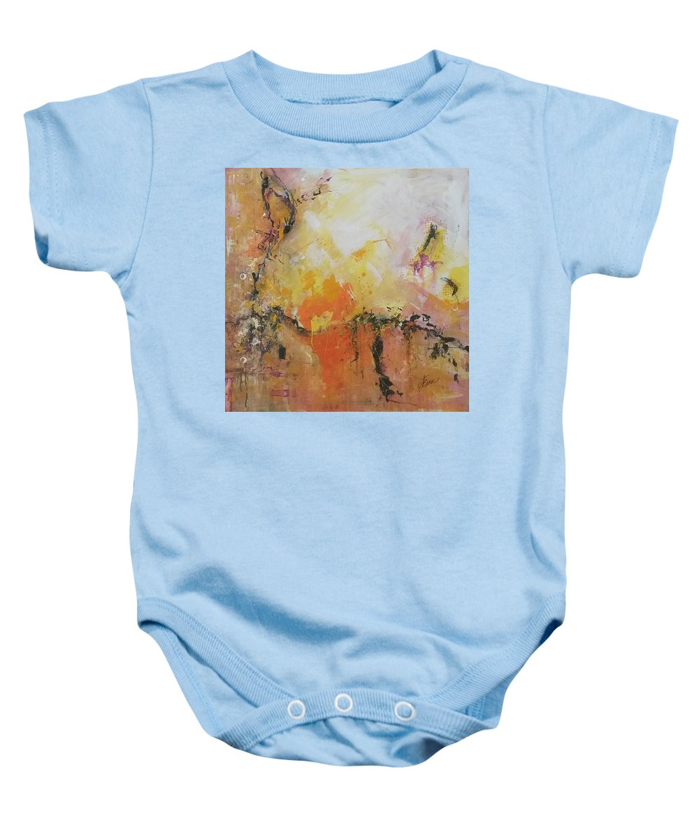 Abstract Baby Onesie featuring the painting Eruption by Terri Einer