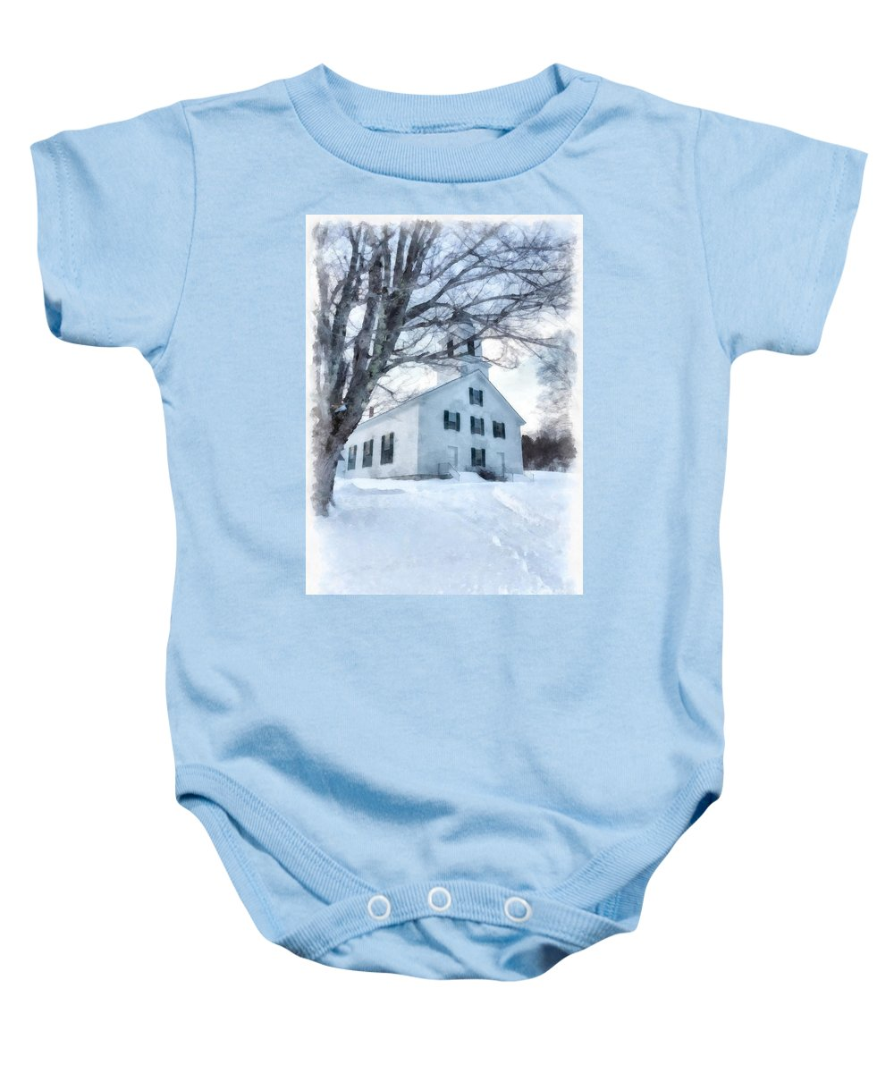 Etna Baby Onesie featuring the painting Etna Center Church by Edward Fielding