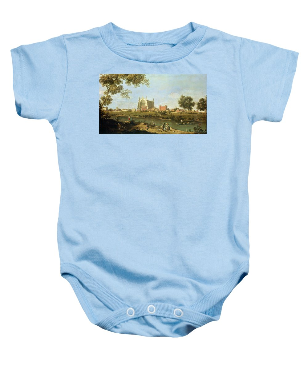 Eton Baby Onesie featuring the painting Eton College by Canaletto
