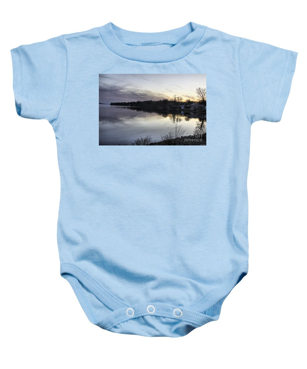Lake Champlain Baby Onesie featuring the photograph Evening Light On Lake Champlain by Deborah Benoit