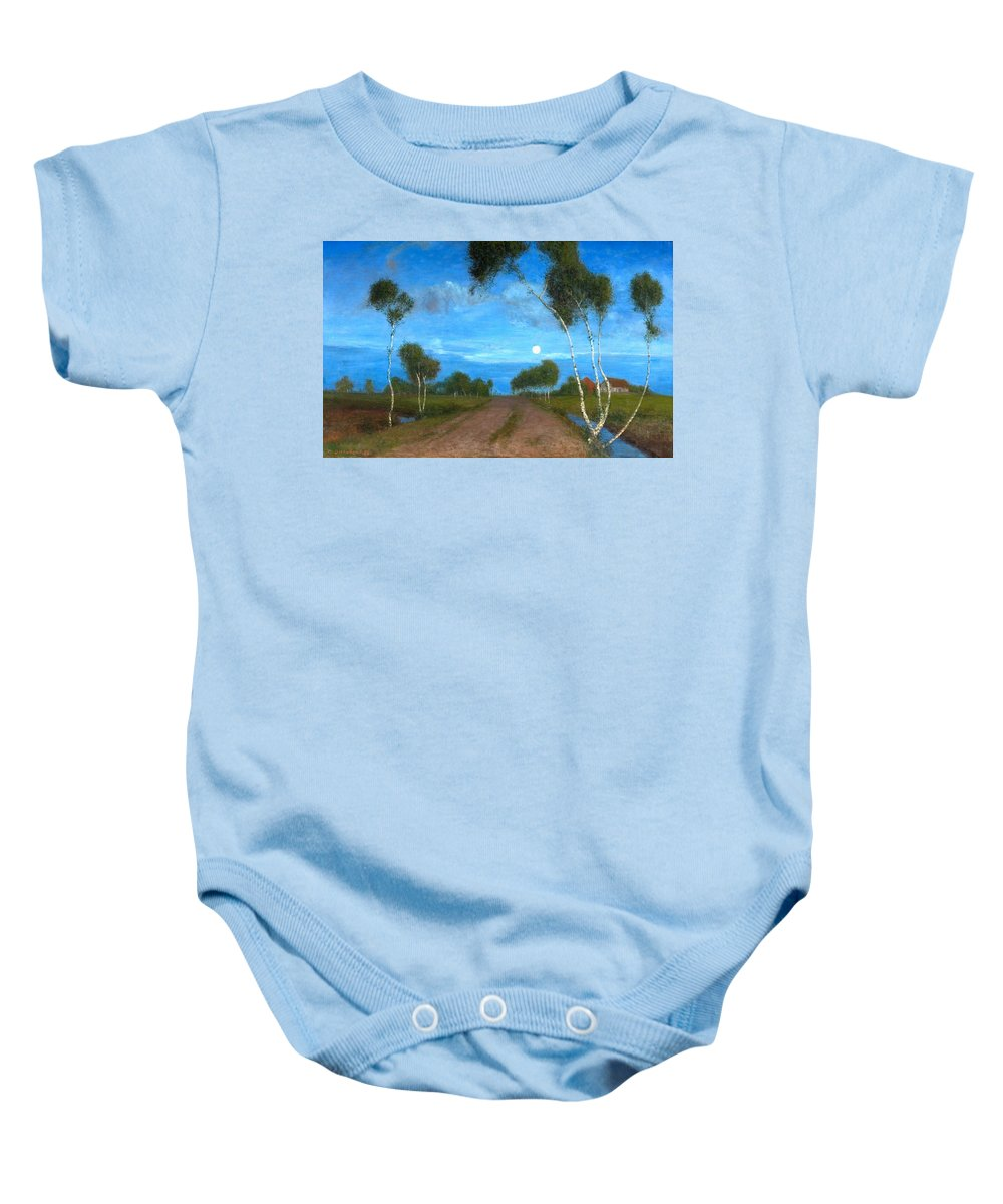 Fritz Overbeck Baby Onesie featuring the painting Evening On The Moor by Fritz Overbeck