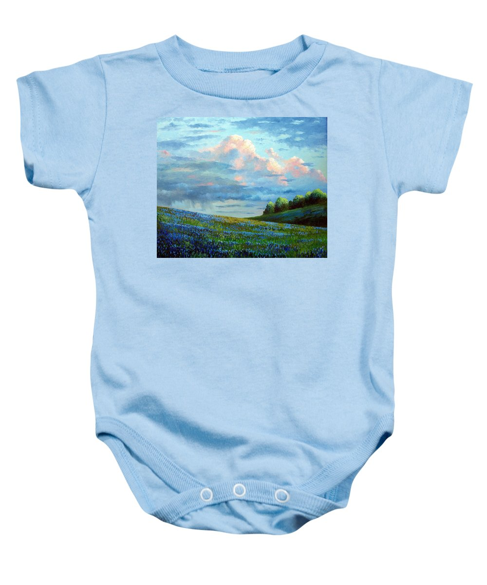 Landscape Baby Onesie featuring the painting Evening Rain by David G Paul