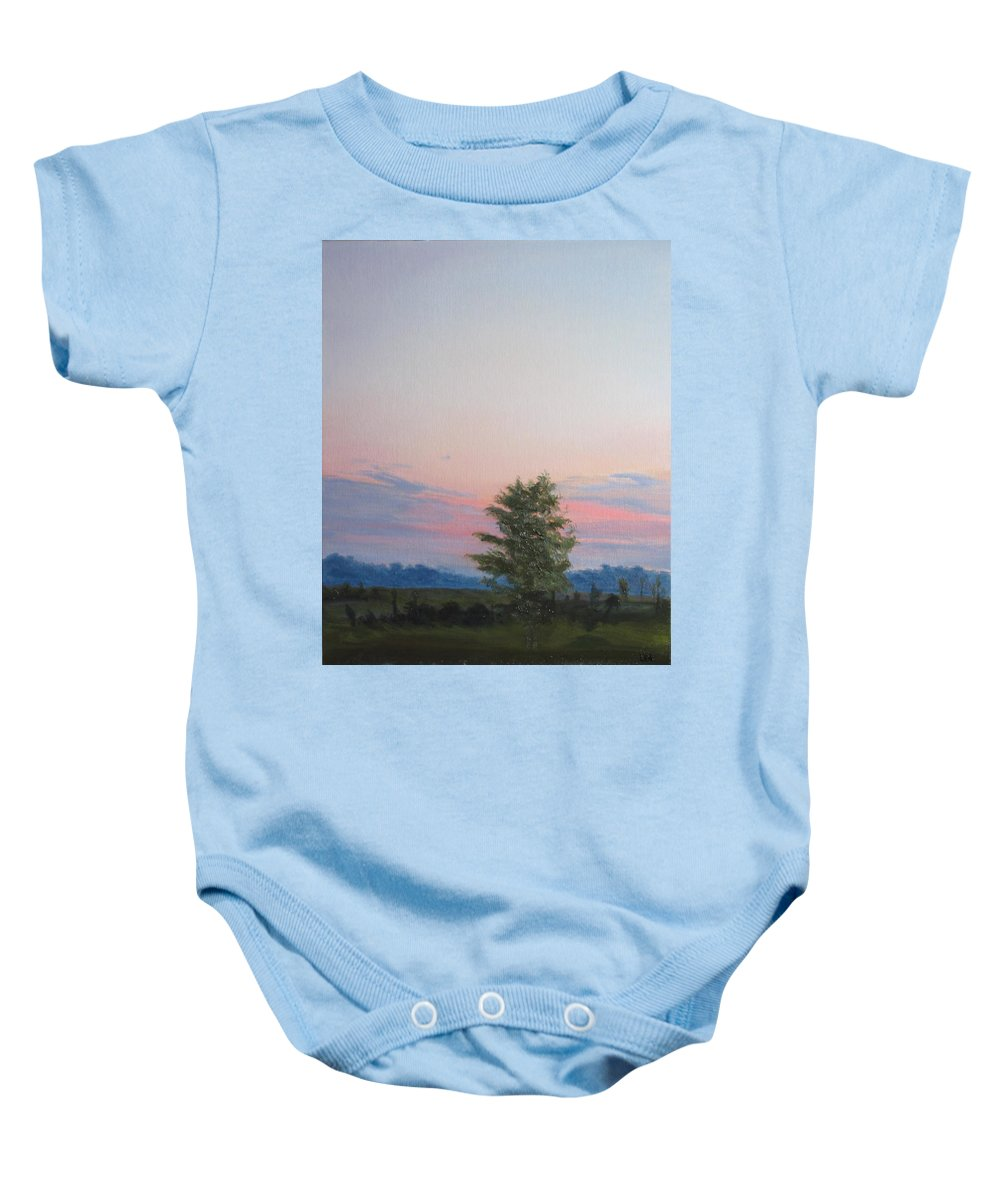 Landscape Baby Onesie featuring the painting Evening Sky by Lea Novak