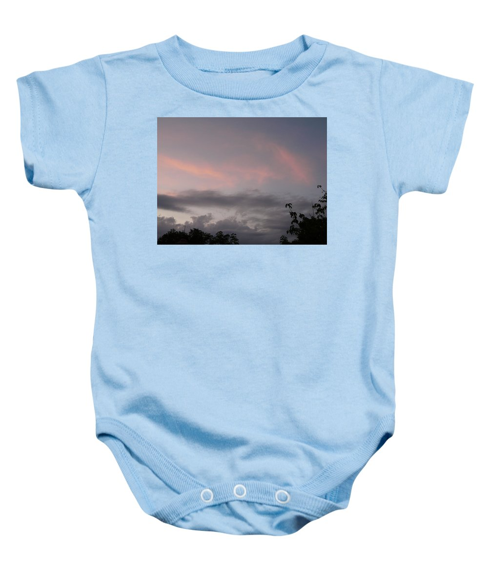 Sky Baby Onesie featuring the photograph Evening Sky by Valerie Ornstein