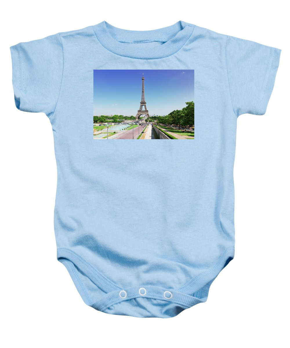 Eiffel Baby Onesie featuring the photograph Eviffel Tower With Fountains by Anastasy Yarmolovich