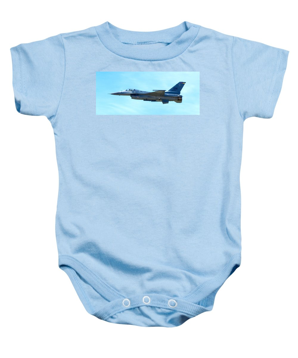 F16 Baby Onesie featuring the photograph F16 by Greg Fortier