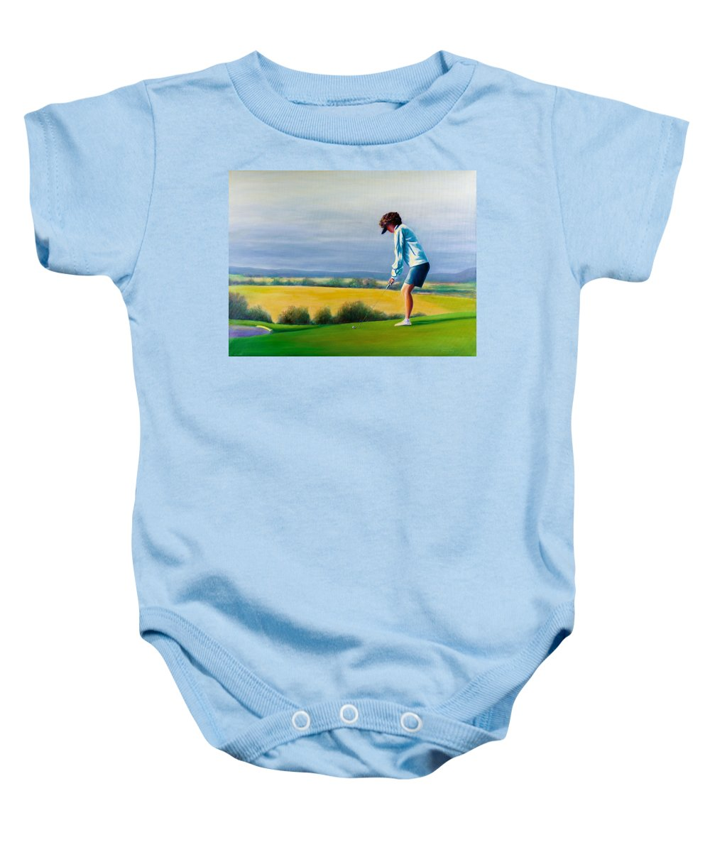 Golfer Baby Onesie featuring the painting Fairy Golf Mother by Shannon Grissom