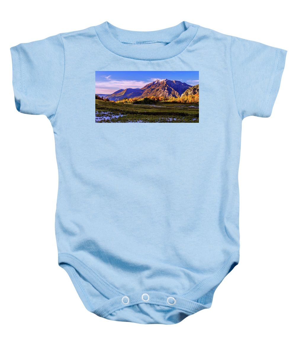 Fall Meadow Baby Onesie featuring the photograph Fall Meadow by Chad Dutson